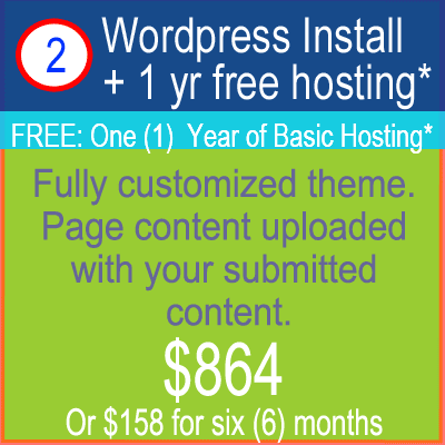 WordPress Custom Install Package $864
